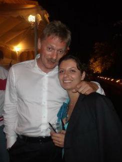 Пресс-секретарь Владимира Путина Дмитрий Песков и главный редактор телеканла Russia Today Маргарита Симонян