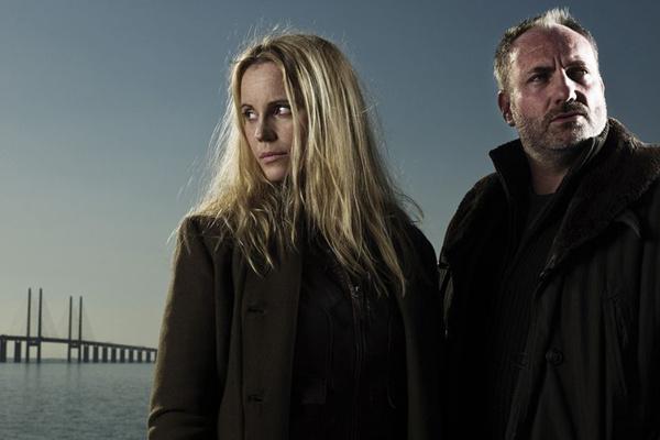 Сага Нурен (актриса - София Хелин) и Мартин Руде (Ким Бодниа) в шведско-датском проекте Bron/Broen