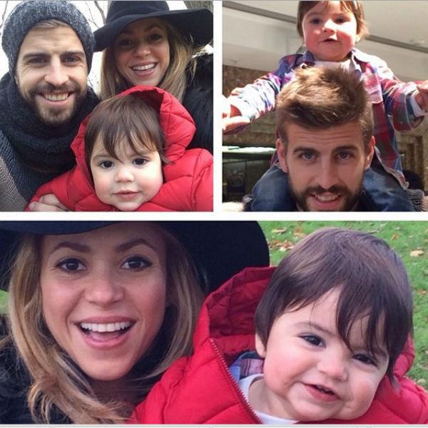 Малыш Милан на прогулке с мамой и папой