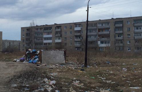 На город с населением 18 тысяч всего десятка три контейнерных площадок. Стоит опустошить баки, как они наполняются вновь, а ветер разносит мусор по окрестностям. На фото – Нижняя Салда в конце апреля 2014 года