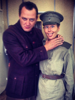 Мария Кожевникова и Марат Башаров на съемках фильма