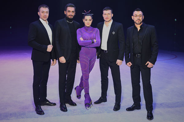 Adeline Sotnikova tried on neon-shimmering suit
