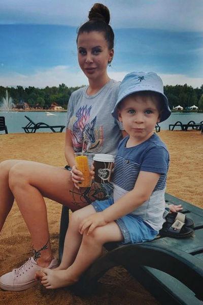 С сыном Мишей