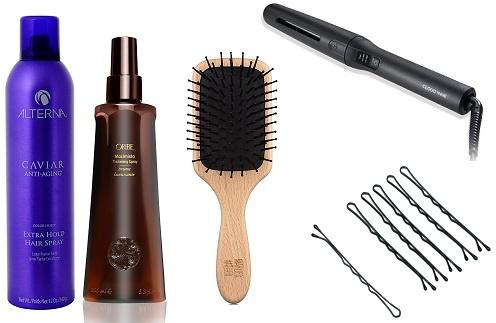 Лак для волос Alterna Caviar, стайлер Cloud Nine Micro Wand, уплотняющий спрей Oribe Maximalista, невидимки Lady collection, расческа Marlies Moeller