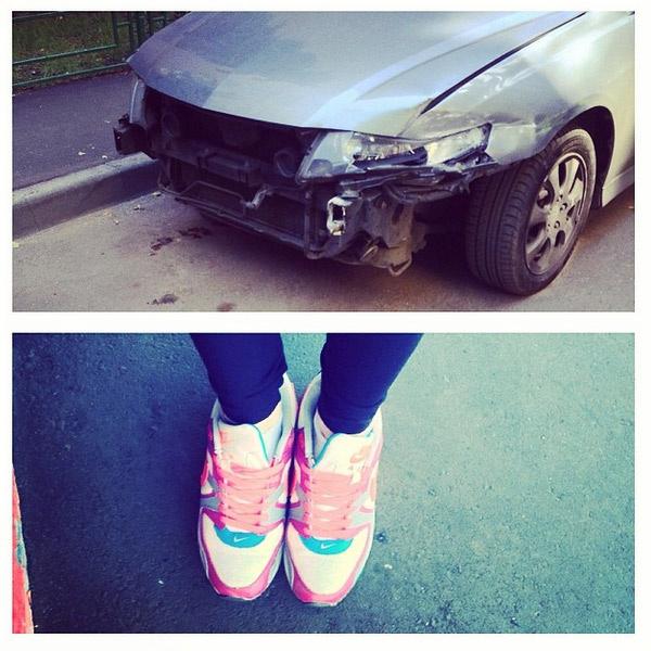 Машина Подгурской после аварии
