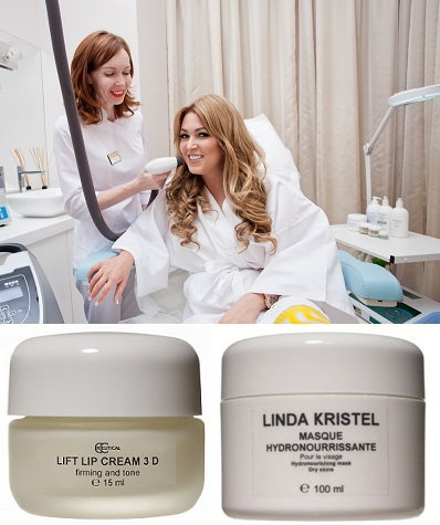 Крем для губ Linda Kristel Lift lip cream 3D, Увлажняющая маска для лица Linda Kristel Hydronourrissante