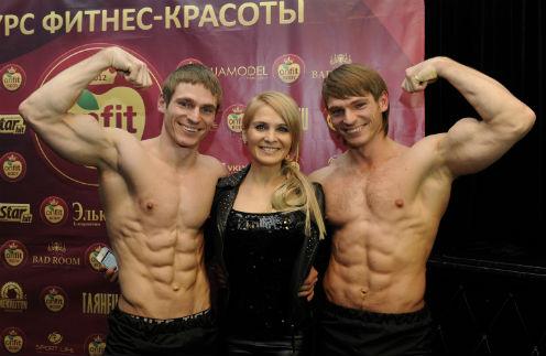 Степанов Олег, Валентина Забияка (судья в номинации Onfit Body Evolution Man), брат-близнец Олега Константин