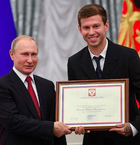 Владимир Путин и Федор Смолов