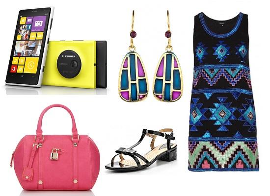 Nokia Lumia 1020, Сумка Dune, Босоножки Wilmar, Сережки Модные истории, Платье Morgan