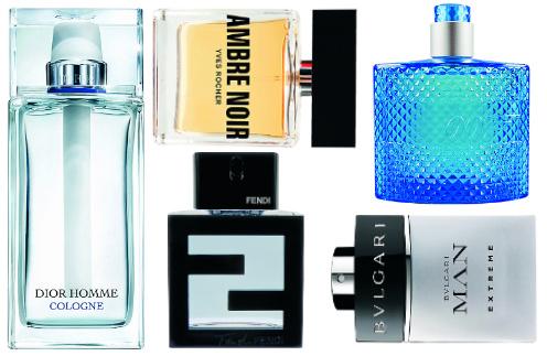 Туалетная вода: Dior Homme Cologne, 4590 руб. Yves Rocher Ambre Noir, 1390 руб. James Bond 007 Ocean Royale, 1850 руб. Fendi Fan di Fendi pour Homme Aqua, 3900 руб. Bulgari Man Extreme, 3190 руб.