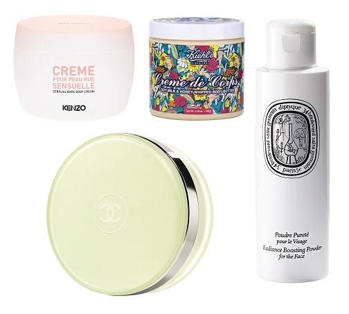 Chanel Мерцающий гель для тела, KenzoKi Чувственный крем для кожи, Diptyque Очищающий порошок, Kheils Крем для тела