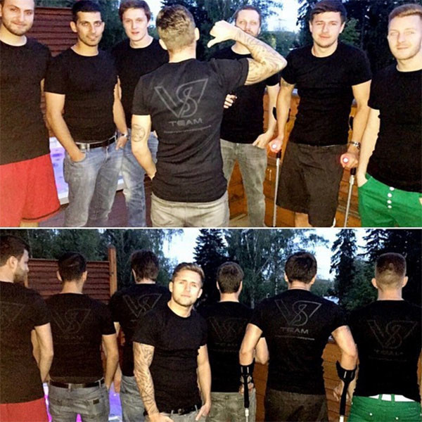 Парням выдали футболки черного цвета
