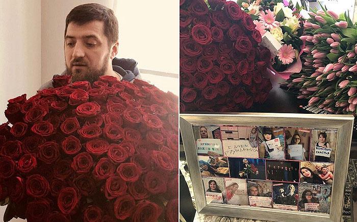 Любимый муж подарил Ирине шикарный букет роз