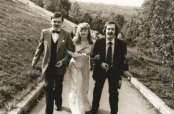 Александр Королев с Машей и Константин Купервейс в день свадьбы