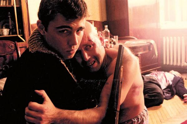 С Сергеем Бодровым на съемках фильма «Брат», 1997 год