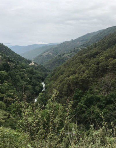 Вид на гористую местность королевства Бутан
