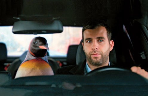 Кадр из фильма: через пару секунд случится авария, и птица сбежит от героя Урганта. Картина в прокате с 22 декабря