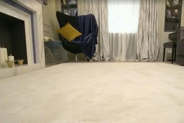 Ковер в гостиной создан по индивидуальному проекту. Он выполнен из нейлона последнего поколения и по своей мягкости ничем не уступает шелку.