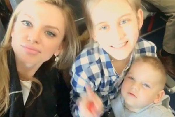 Жена Александра Кержакова Милана с детьми футболиста Дашей и Игорьком направлялись к папе в Цюрих
