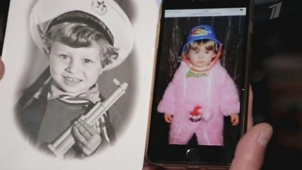 Детское фото Вячеслава и архивный снимок Юлии Липницкой