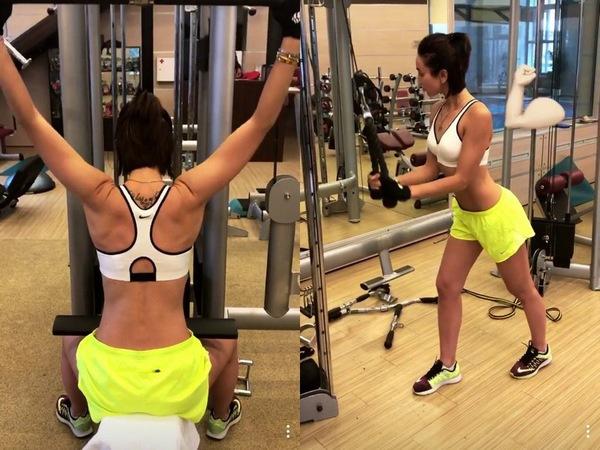Ольга Бузова занимается в спортзале