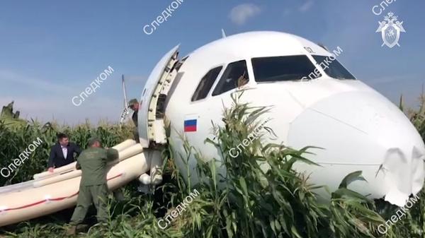 После аварии пострадал лишь кусочек кукурузного поля
