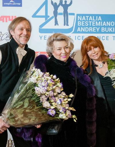 Наталья Бестемьянова и Андрей Букин с тренером Татьяной Тарасовой