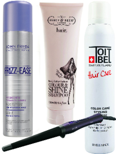 John Frieda Лак для волос Frizz-Ease, 495 руб. Percy & Reed Шампунь Colour & Shine, 850 руб. Toitbel Мусс для волос Hair Care, 350 руб. Philips Шипцы для завивки ProCare HP8619, 2190 (в продаже с сентября)