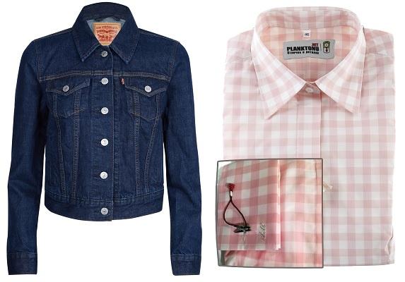 Джинсовая куртка LEVI'S, Рубашка под запонки Colletto Bianco с вышитыми инициалами (интернет-магазин planktonu.net)