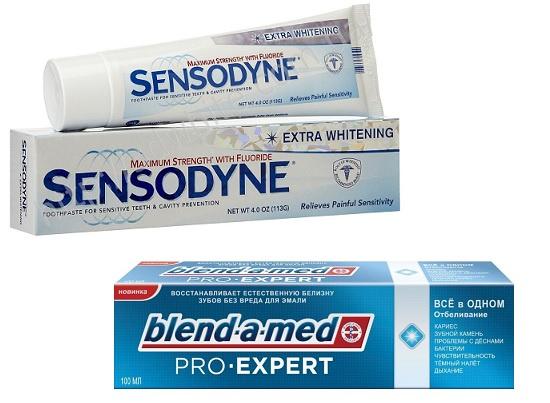 Зубная паста для чувствительных зубов Sensodyne Extra Whitening, Отбеливающая зубная паста Blend-a-med Pro Expert