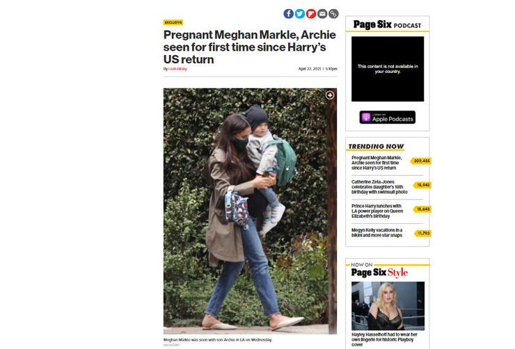 Неприметная женщина: беременная Меган Маркл на прогулке с подросшим сыном