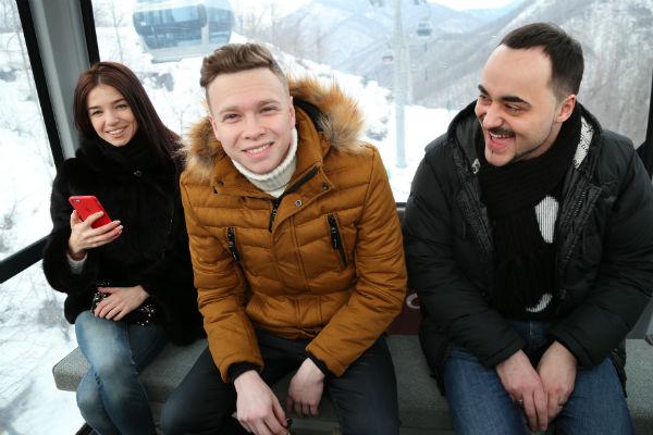 Татьяна Ширко, Данил Буранов и Николай Тимохин на подъемнике в горы
