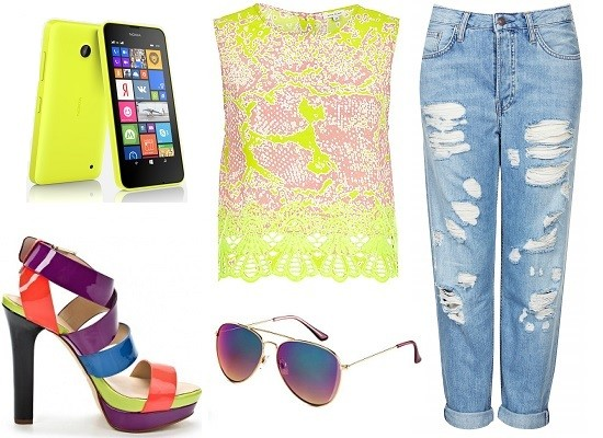 Nokia Lumia 630, Босоножки Versace Jeans, Топ River Island, Джинсы Top Shop, Очки H&M
