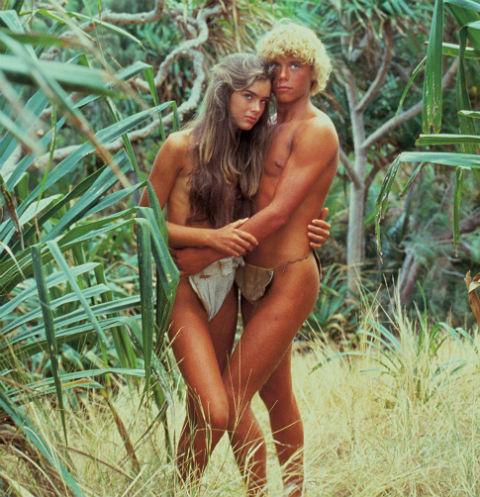 Брук Шилдс и Кристофер Аткинс на острове на съемках фильма «Голубая лагуна» в 1980 году