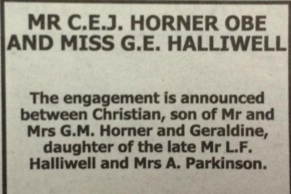 Объявление о помолвке в газете The Times