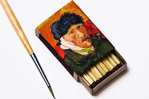 Первая работа художника, выполненная на спичечном коробке