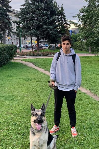 Нашего героя часто можно встретить на улице за прогулкой с собакой