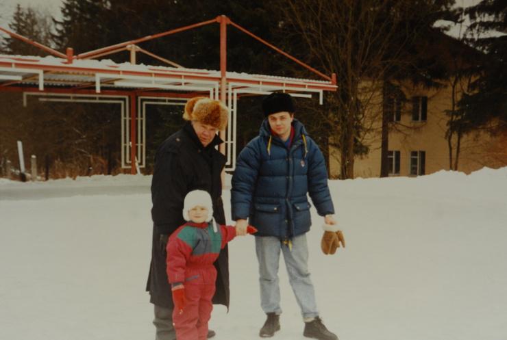 Евгений Леонов с сыном и внуком