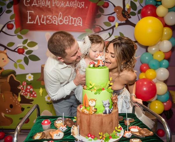 Малышка и ее гости пришли в восторг от яркого торта