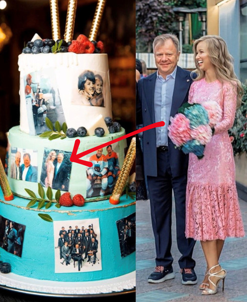 На именинном торте Игоря Анна разместила и их совместное фото