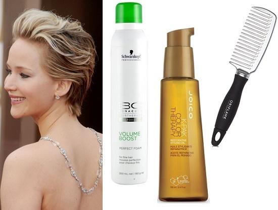 Дженнифер Лоуренс. Schwarzkopf Professional Мусс для укладки Volume Boost, Joico Масло для волос Color Therapy, Oriflame Расческа для волос