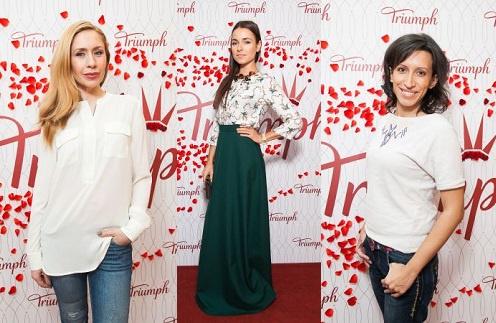 Анастасия Гребенкина, Ирена Понарошку, Елена Борщева на открытии нового магазина Triumph