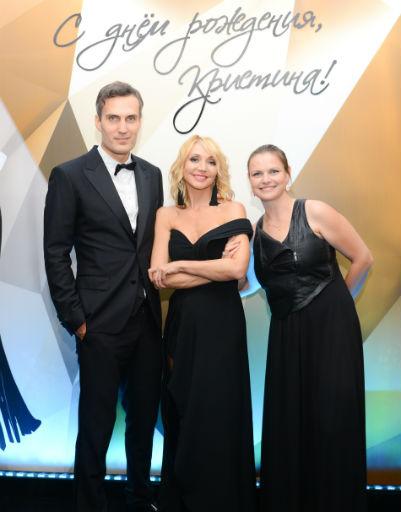 Кристина с супругом Михаилом Земцовым и гостьей вечера