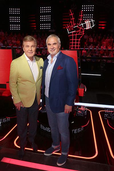 Лев Лещенко и Валерий Меладзе на съемках шоу «Голос»