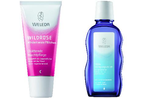 Средства Weleda: Разглаживающий ночной крем-уход, 920 руб. Очищающее молочко для нормальной и сухой кожи, 567 руб.
