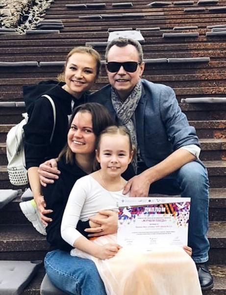 Вика с папой — Владимиром Левкиным, его женой Марусей и их дочкой Никой