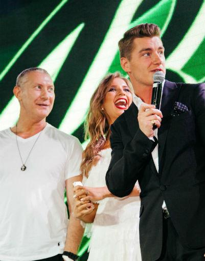 Алексей Воробьев, Мария Миа и Игорь Жижикин на презентации клипа «Письмо»