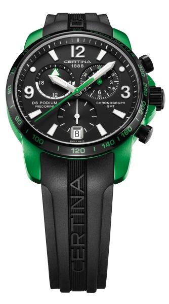 Флагманская модель часов Certina в ярко-зеленом цвете и с черным ремешком