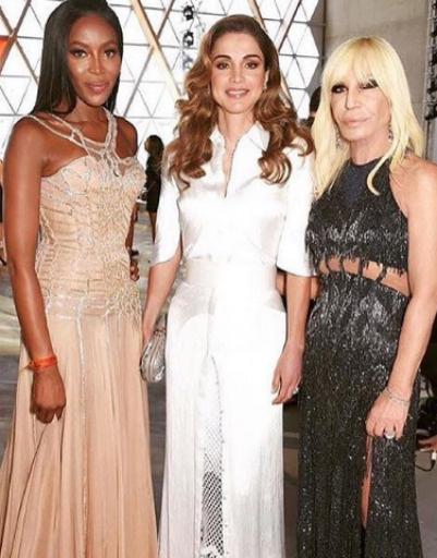 Наоми Кэмпбелл, королева Иордании Рания и Донателла Версаче