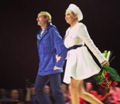 Рудковская и Плющенко представили коллекцию одежды в морском стиле